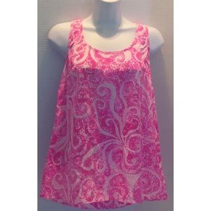 LILLY PULITZER All Silk SCOOP NECK PINK WHITE XL